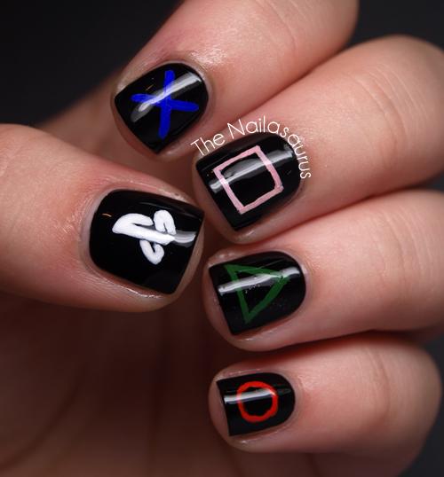 Manicure Nail Art: Playstation Nail Art - The Nailasaurus