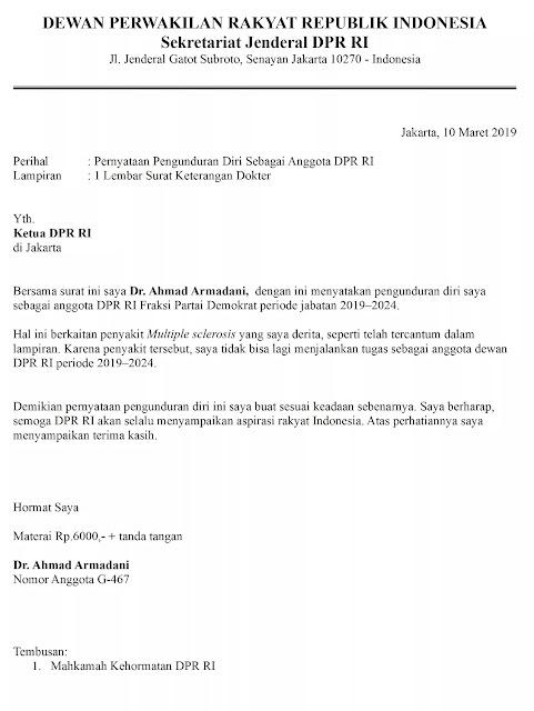 Contoh Surat Pengunduran Diri Anggota DPR