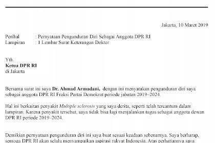 Contoh Surat Pengunduran Diri Caleg / Anggota Legislatif