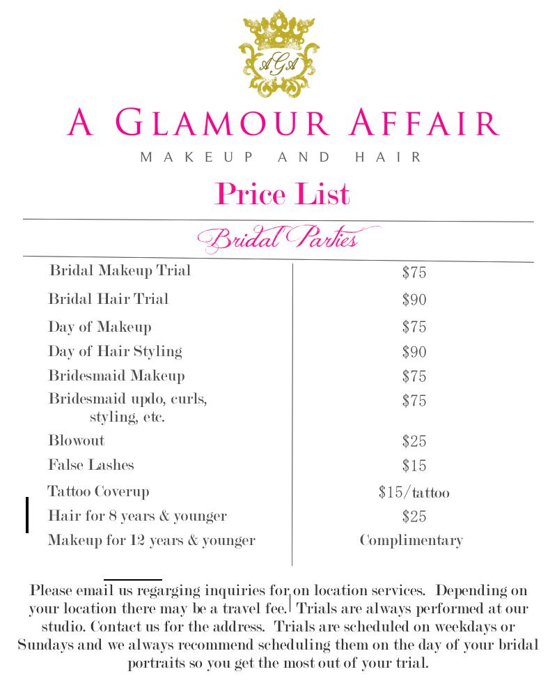 Wedding Hairstyle Price List