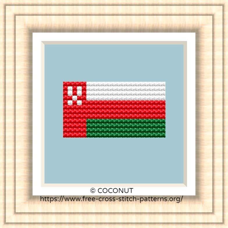NATIONAL FLAG OF OMAN CROSS STITCH CHART