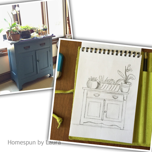 homespun by laura daily doodle plant stand cabinet pencil sketch sketchbook