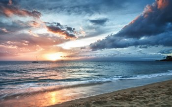 Wallpaper: Sandy Beach and Ocean Waves