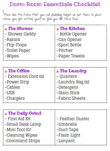 Free Printable Dorm Supply Checklist