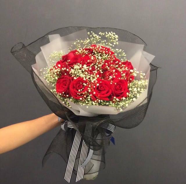 hoa hồng đỏ sinh nhật và baby
