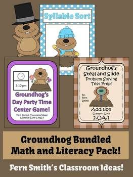 Fern Smith's Groundhog Math and Literacy Bundled Center Games for Common Core