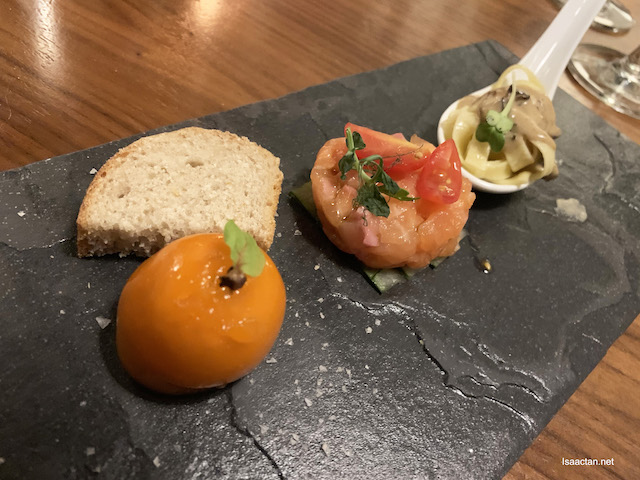 Salmon Tartare, Foei Gras and Chicken Liver Parfait, and Graze's Homemade Linguine Pasta