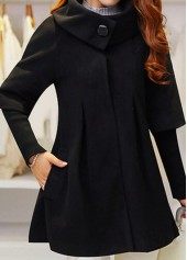 Snap Button Long Sleeve Black Coat