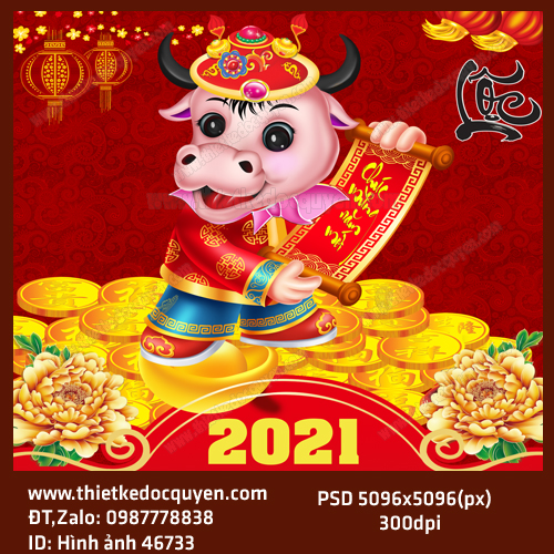 Vector in lịch tết 2021
