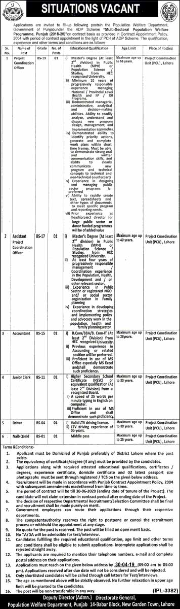 Jobs in Multi Sect-oral Population Welfare Program Punjab