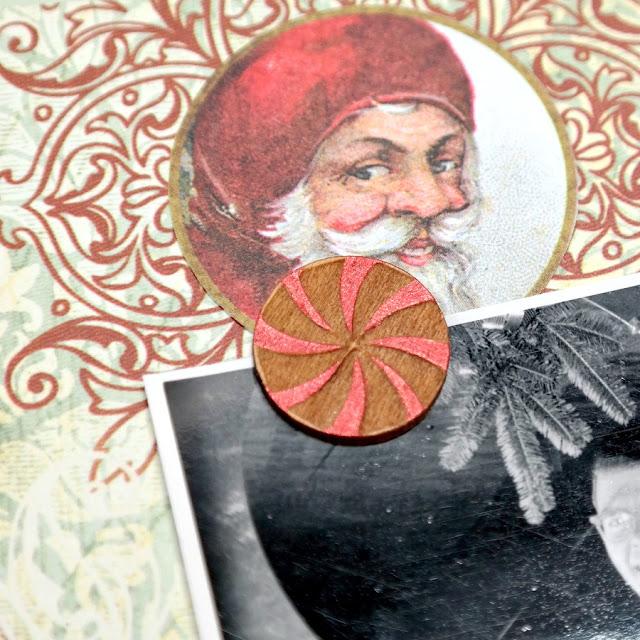 Wood Veneer Peppermint Embellishment on a Christmas Scrapbook Layout