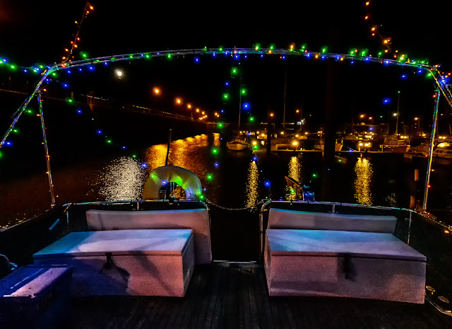 Photo of festive lights across Ravensdale's aft deck