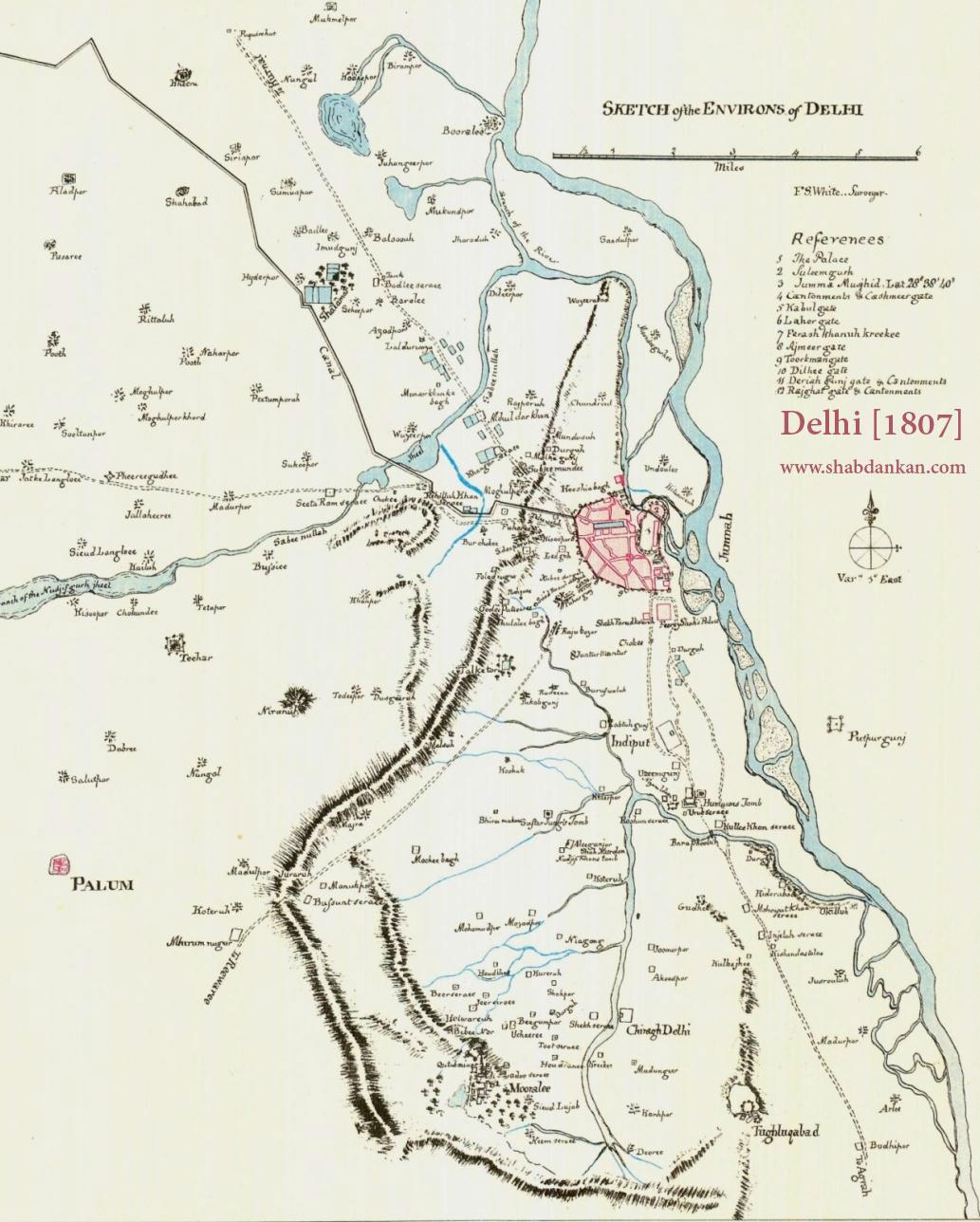 दिल्ली का नक्शा 1807 में.