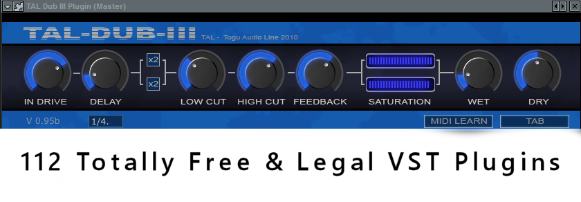 112 Totally Free & Legal VST Plugins: TAL-Dub