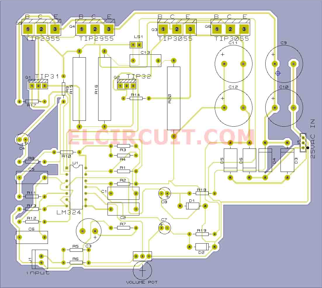 Transistor Subwoofer Circuit Diagram Datasheet Wiring Diagrams For 2x25w Stereo Power Amplifier With Stk4141ii Tip3055 Schematic Get Free Image About Npn Simple Circuits
