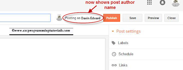 New blogger post editor showing post author's name