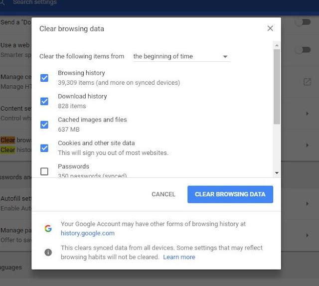 تسريع جوجل كروم عبر محو بيانات التصفح