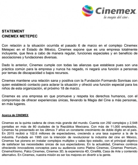 Cinemex, películas carta