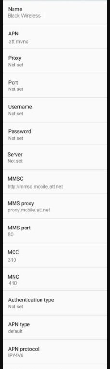 Black Wireless APN Settings android updated