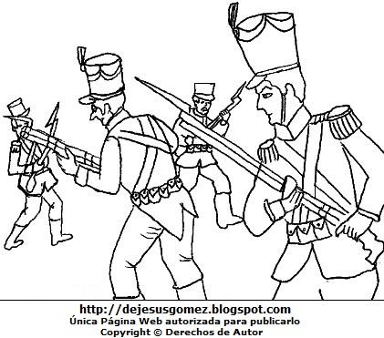 Dibujo de la Batalla de Junín para dibujar pintar e imprimir (patriotas con españoles). Dibujo de la Batalla de Junín de Jesus Gómez