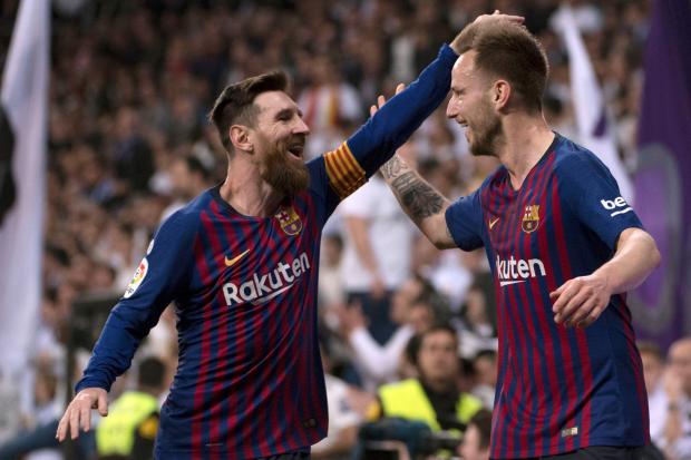 Barcelona stars Lionel Messi and Ivan Rakitic
