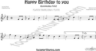 Flauta Travesera, flauta dulce y flauta de pico Partitura de Happy birthday to you (Cumpleaños Feliz) Sheet Music for Flute and Recorder Music Scores. Partituras de FLAUTA DULCE Y FÁCIL pinchando aquí