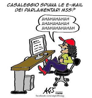 M5S, casaleggio, e-mail, vignetta, satira