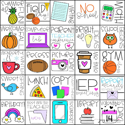 """doodle """"stickers"""" to be used with the digital binder system - If you're on the lookout for the ultimate teacher binder, you HAVE to click through! You're going to get a great EDITABLE binder FULL of materials you can use all school year long - substitute binder, academic tracking forms, calendars, lesson plans, AND MORE. You get FREE updates for life! Choose paper OR digital with this versatile resource. {covers, organization, printables, planner, elementary, middle school, secondary, high school, what to put in a teacher binder, table of contents, tabs}"""