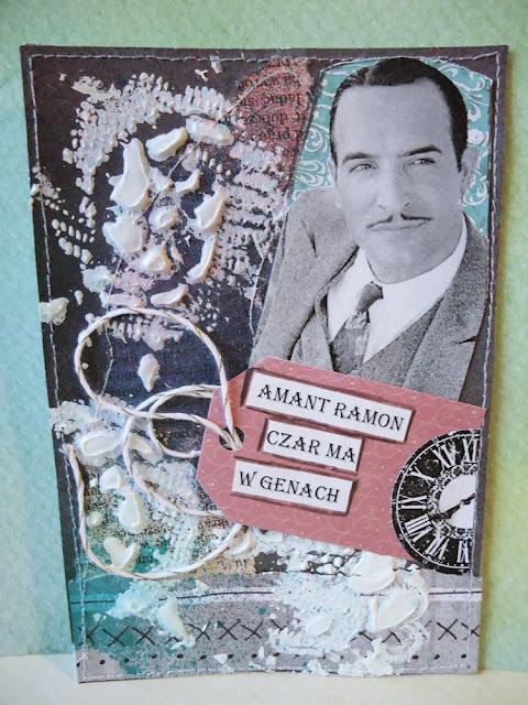 kartka  z układanką słowną Amant czar ma w genach