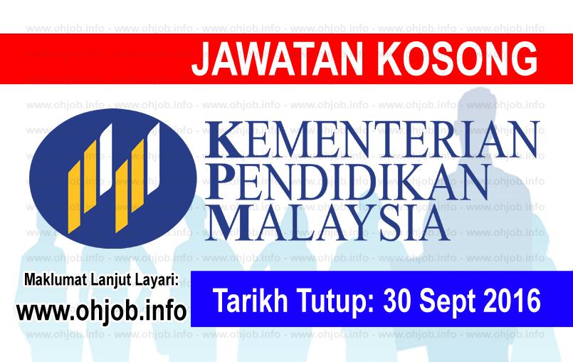 Jawatan Kerja Kosong Kementerian Pendidikan Malaysia (MOE) logo www.ohjob.info oktober 2016