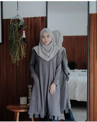 Hijab warna Dark Grey