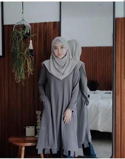 Hijab warna Dark Grey