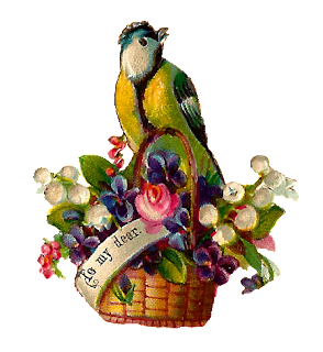 flower basket bird illustration