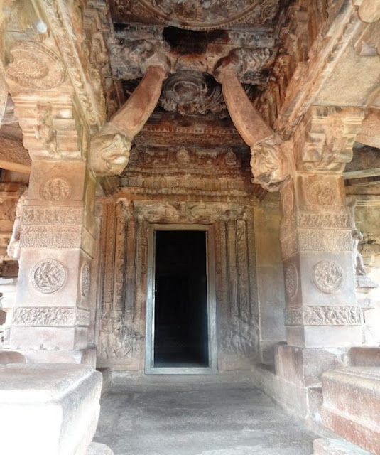 Places to see in Aihole -  Durga temple - carved door frame sculpture