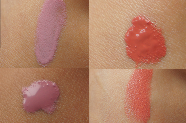 Earthnicity Liquid Lips Babydoll and Guava swatches
