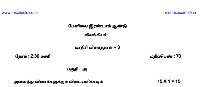 Plus two tnscert government official model question paper