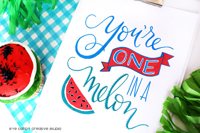 free art print, free summer art, summertime, watermelon, hand lettering