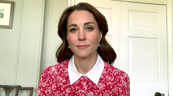 Kate Middleton wore a new calla rose red floral shirt dress by Beulah London. Duchess wore a dress from Beulah London