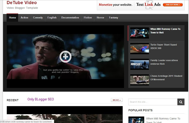 Detube Video Blogger Template