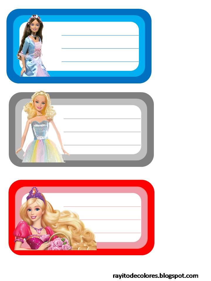 Etiquetas escolares de Barbie