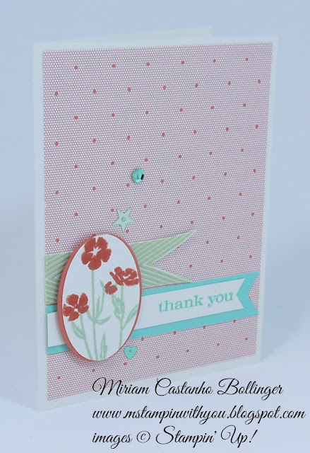 Miriam Castanho Bollinger, #mstampinwithyou, stampin up, demonstrator, dsc, thank you, gold soiree specialty dsp, wild about flowers, banner triple punch, something to believe stamp setsu