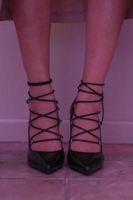 Joanna Joy A Stylish Love Story Fashion Blogger black ysl laceup stiletto heels