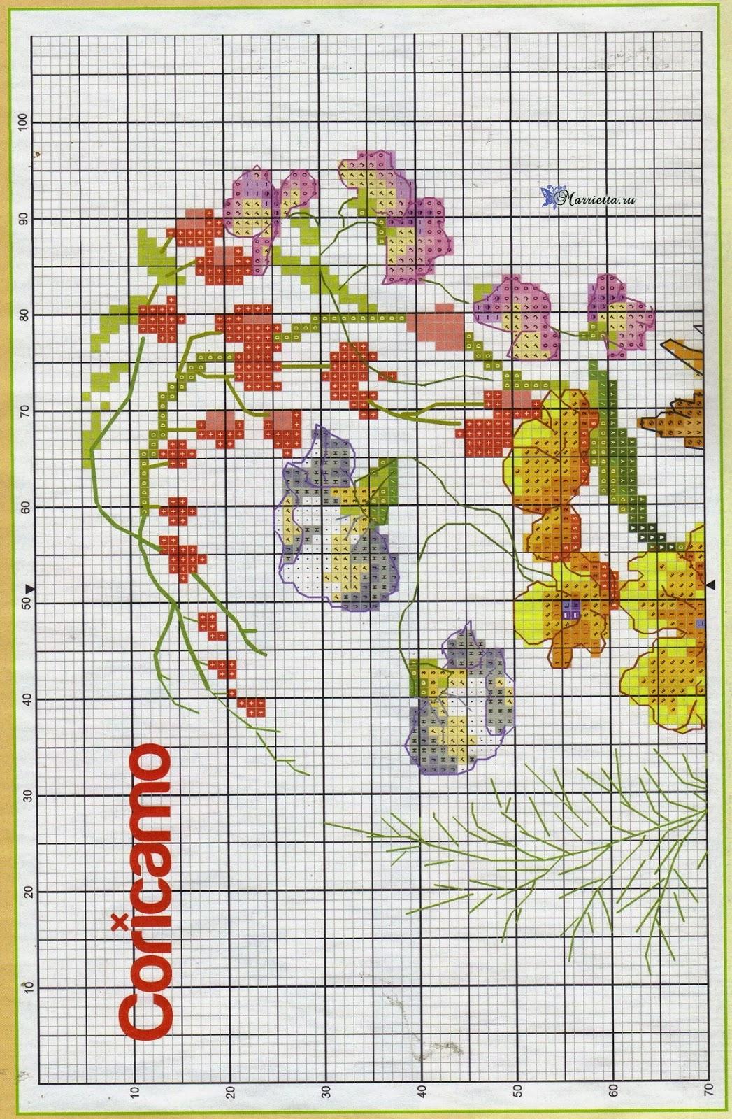 Летний букет цветов с птичкой. Схемы вышивки (3)