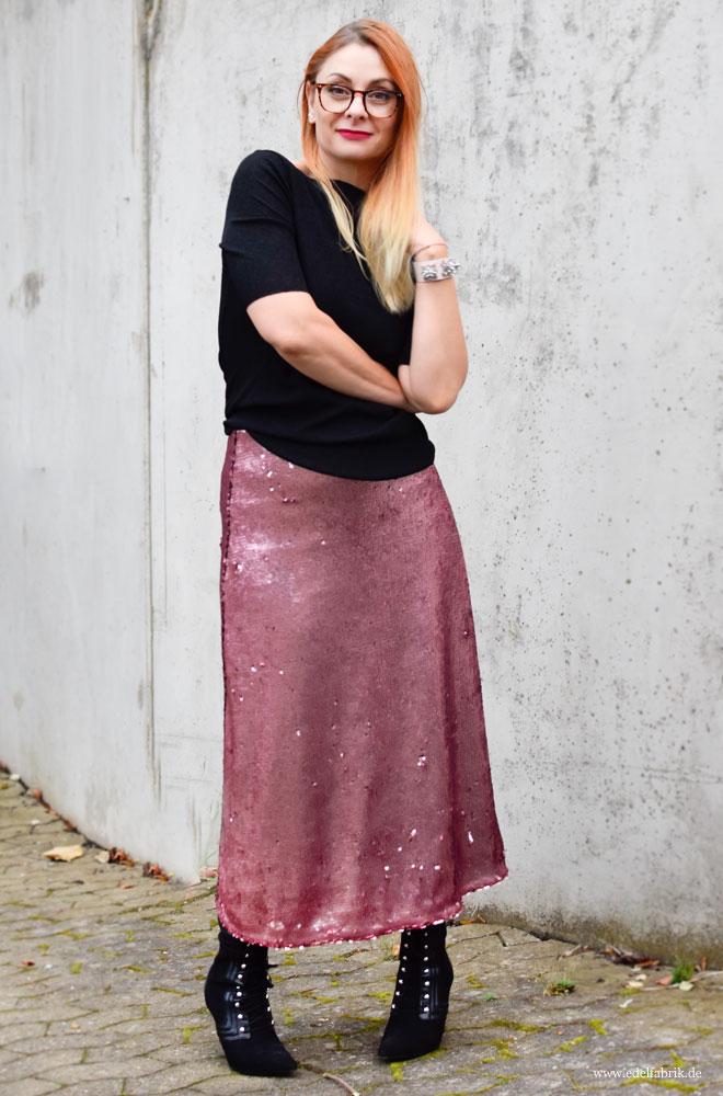 Rosa Pailetten im Alltag tragen, wie kombiniere ich Rosa