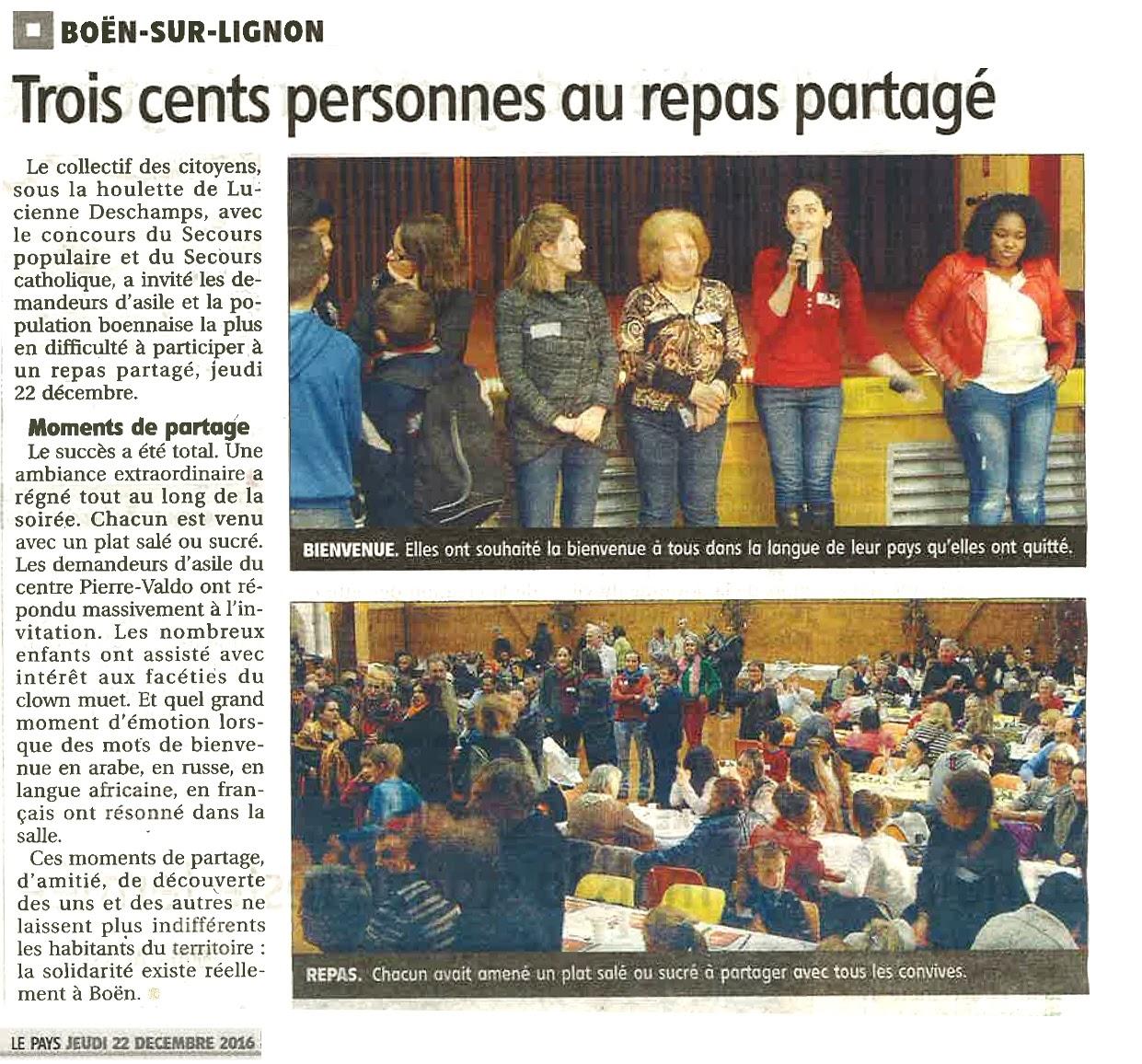 Repas partagé, article Le Pays du 29-12-2016