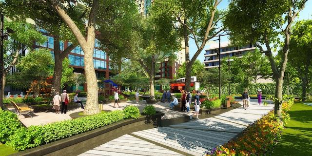 Vườn cổ thụ xanh mát của dự án Booyoung Vina