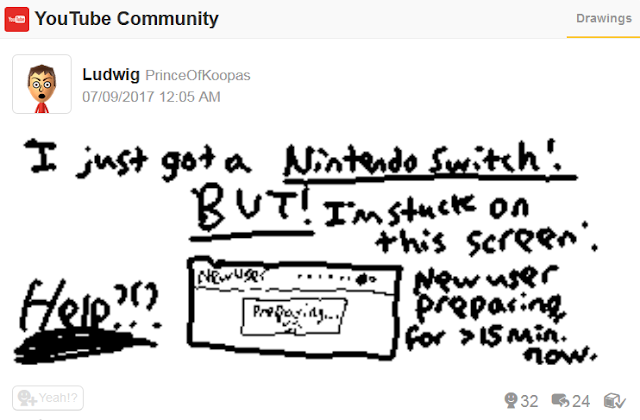 Nintendo Switch new user preparing screen stalled stuck Miiverse post