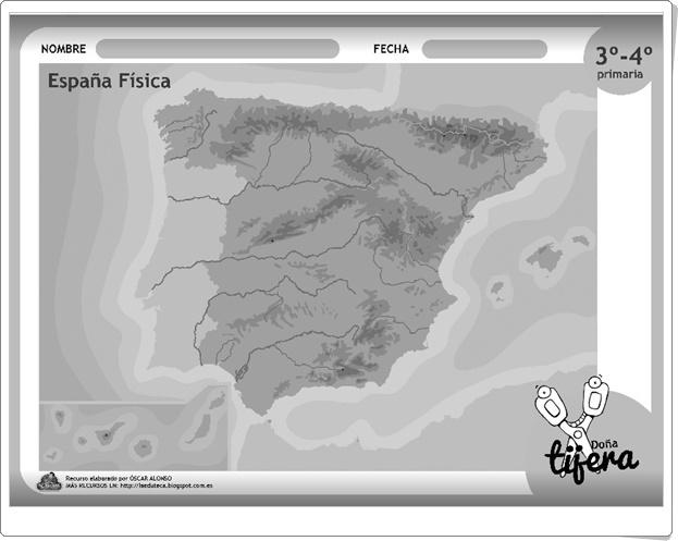 """""""España Física"""" (Fichas recortables de Ciencias Sociales de Primaria)"""