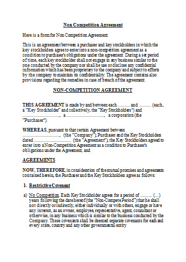 Free Non Competition Agreement Template  Free Word Template  Best