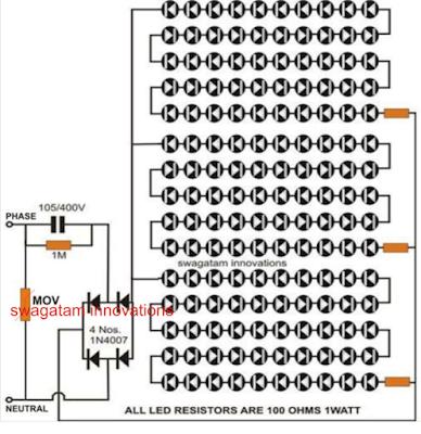 simple led tubelight circuit
